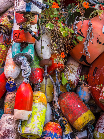 Colorful buoys and other beach and water paraphernalia hang alongside a building in Newport.