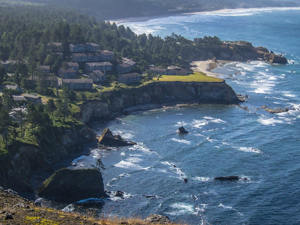 View of Inn at Otter Crest and neighboring beaches from Cape Foulweather.