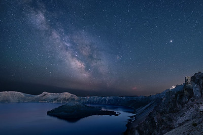 """Milky Way and Jupiter (bright """"star"""") over Wizard Island, Crater Lake"""