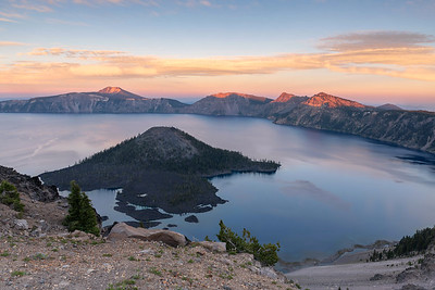 Sunset approaches.  Wizard Island, Crater Lake