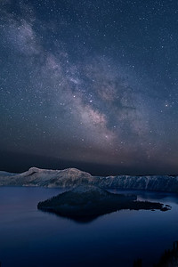 Milky Way over Wizard Island, Crater Lake