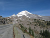 Mount Hood with snow poles, from Timberline Lodge Road.