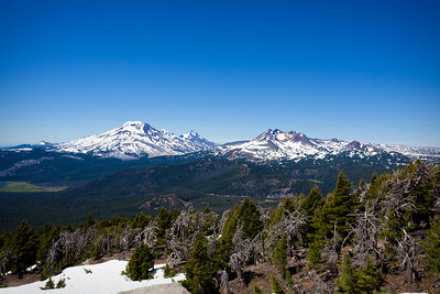 Three Sisters in Cascade Mountains from Mount Bachelor, Bend, Oregon