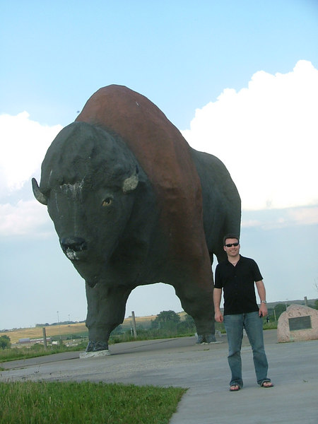 Matt poses in front of the World's Largest Buffalo in Jamestown, North Dakota. While in Jamestown we also got to feed a buffalo.