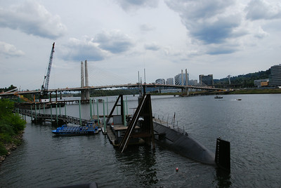Even though Portland is many miles from the sea, it has it's own submarine.  Seems to be welded to the dock, though.