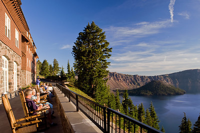 Morning Blues  Crater Lake Lodge rear deck.   Though I wasn't a guest at Crater Lake Lodge, I took a few minutes to sit with a cup of coffee and enjoy the peaceful view.