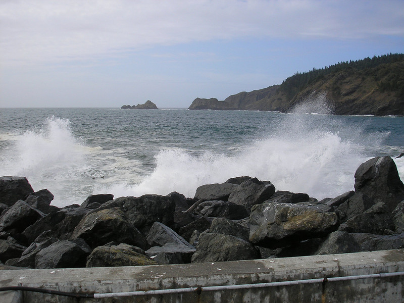 Down by the jetty in Port Orford the surf was up.