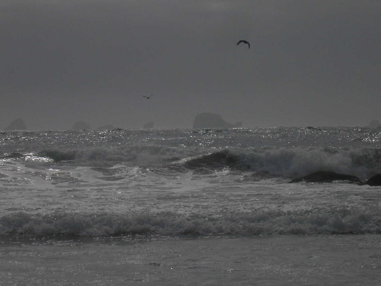 This is a color photo, but the skies were overcast and grey so that is how the ocean looked.