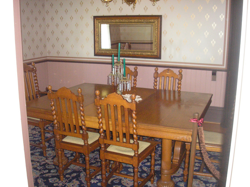The dining room of the Hughes House, all farm hands and family members would gather for meals three time a day.