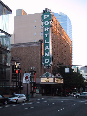 The famous Portland Sign on the Arlene Schnitzer Concert Hall.