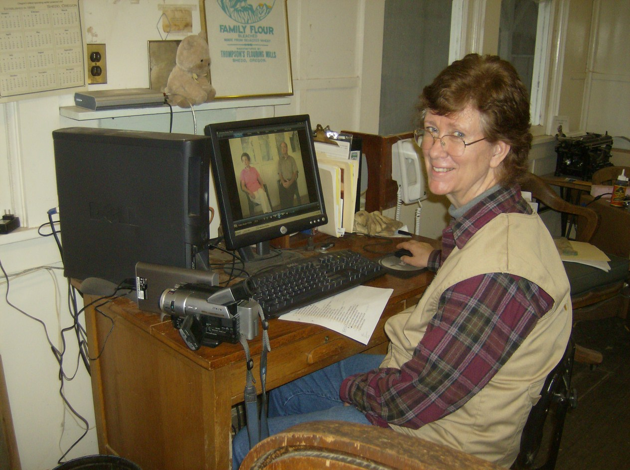 Jeanie got to edit and sort Video Interviews of Mill History.