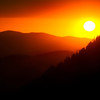 Setting sun, Elkhorn mountains, Oregon