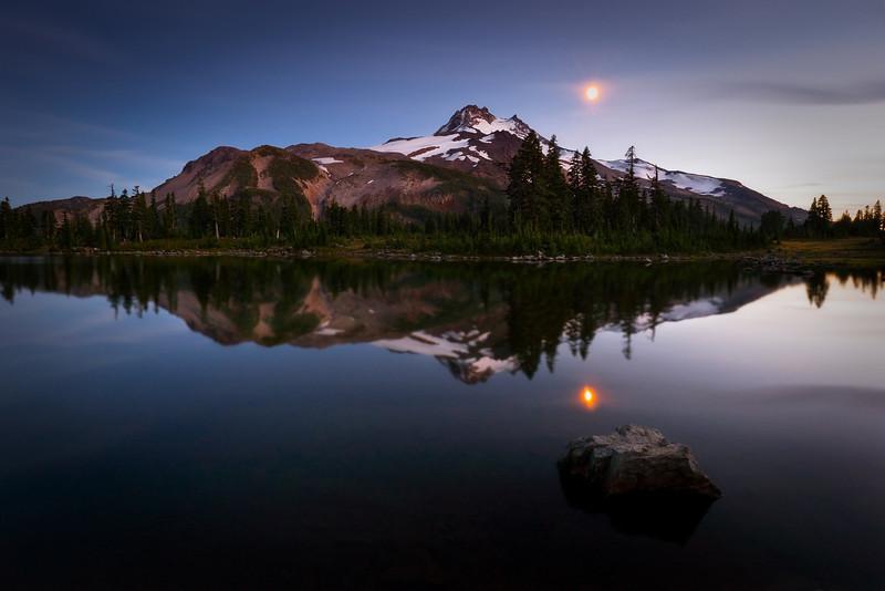 Moon and Mt. Jefferson, Oregon