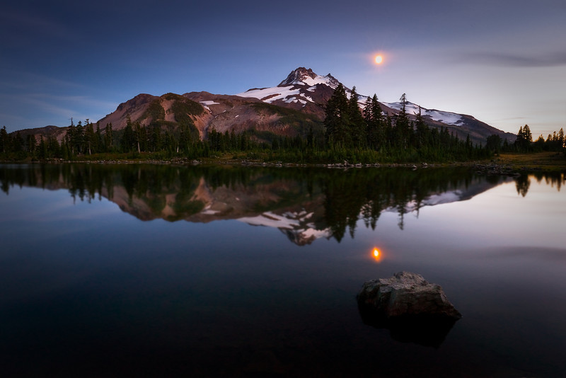 Moon and Mt. Jefferson, Oregon