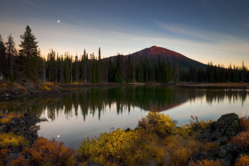 Mount Bachelor and moonrise reflection, Oregon.