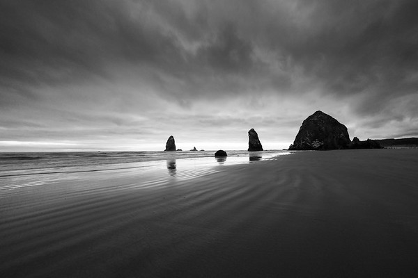 Canon Beach at Sunset - B/W