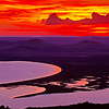 Sunset, Warner wetlands from atop Hart mountain, Oregon