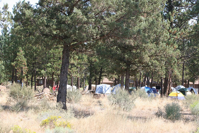 Firefighters Camp on the McKenzie Pass Road