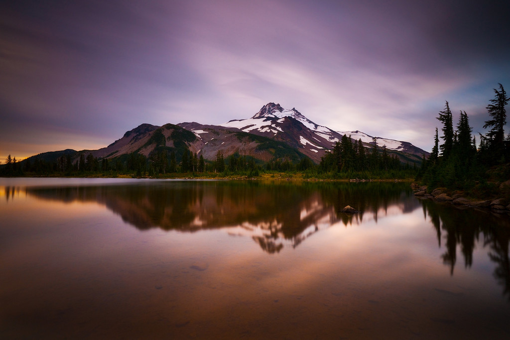 Sunrise, alpine lake, and Mt. Jefferson.