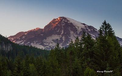 sunset from the National Park Inn, Mt Rainier