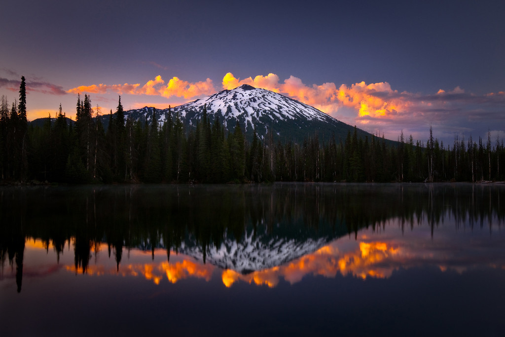 Magic and Mt. Bachelor. Sunrise and storm clouds.