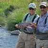 Jim with his guide and a nice rainbow trout on the Deschutes River, OR.<br /> September 3, 2009