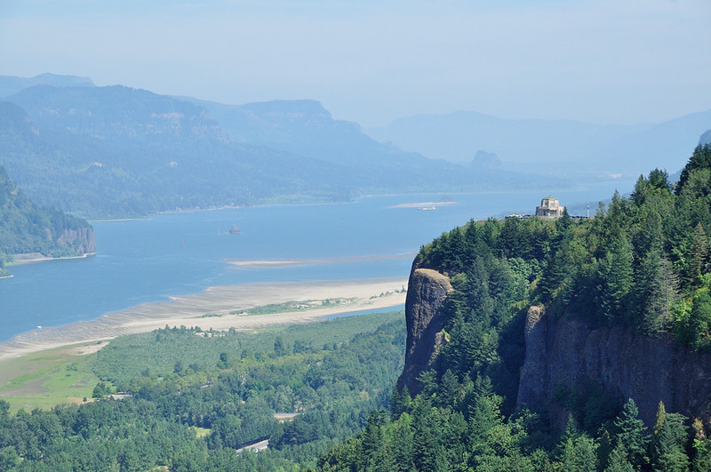 Vista House at Crown Point State Park<br /> overlooking the Columbia River Gorge from 733 feet elevation.<br /> Picture taken from Women's Forum State Park, September 2, 2009
