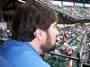 Shhhhhh, be vewy vewy quiet, George is watching baseball.