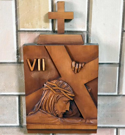 Italian chapel, Lamb Holm, Orkney, 26 May 2015 10.  One of the 14 stations of the cross presented to the chapel in 1964 by Domenico Chiocchetti.  They had been carved in his home town of Moena, in the Italian Dolomites.