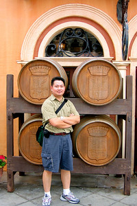 Cly outside the Biergarten at the German pavillion in EPCOT