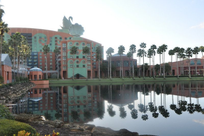 Looking across to the Dolphin's twin resort, the Swan.  Oops!  the high humidity is fogging-up my lens!