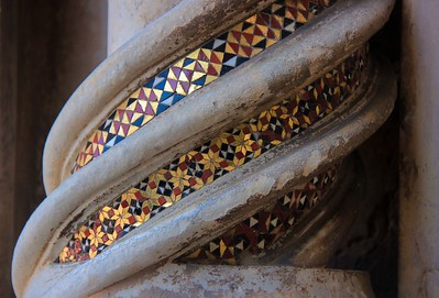 Detail of column inlay, Orvieto Cathedral near the entrance.