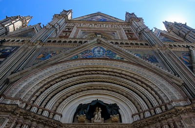 Facade of Orvieto Cathedral, central Italy.