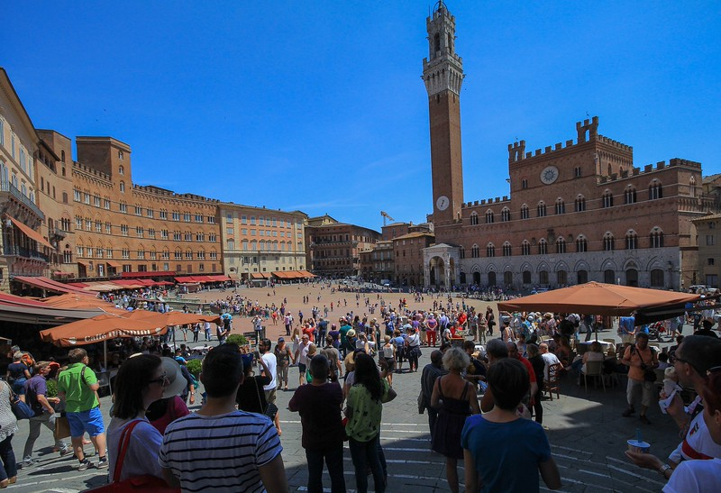 """Piazza del Campo, Siena, Italy, holds a big horse race twice per year and was featured in the James Bond film """"Quantum of Solace""""."""