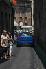 Pedestrians and tiny cars fight for space in Orvieto's narrow streets.