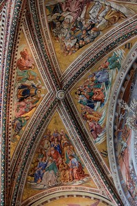Started  in 1449, it took almost 50 years to decorate and paint the breathtaking Chapel of Madonna di San Brizio, a part of the Orvieto Cathedral. Michaelangelo painted the Sistine Chapel in only 4 years-a feat in itself, but the Sistine shading and detail is not as great as this.