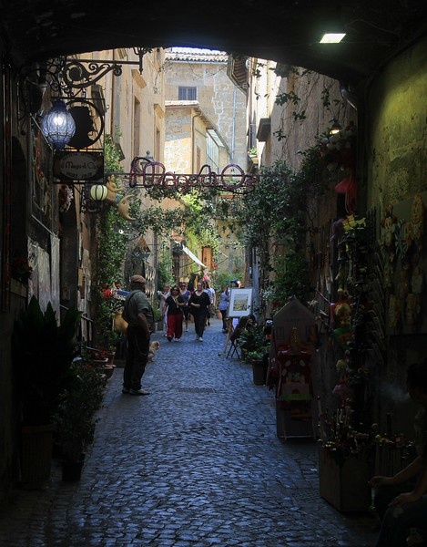 A backstreet shopping area in Orvieto.