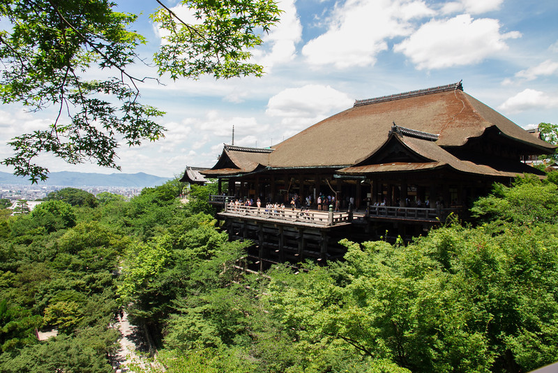 The Kiyomizudera temple, famous for its overhanging terrace.  It must be beautiful in the fall when the leaves change color!