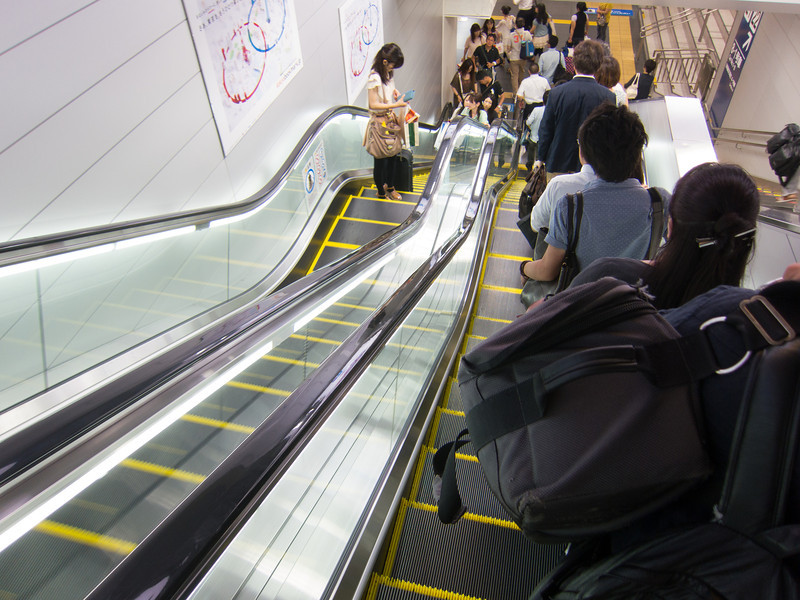 In Osaka people stand on the right side of the escalator.  WHAT IS THIS MADNESS?!?