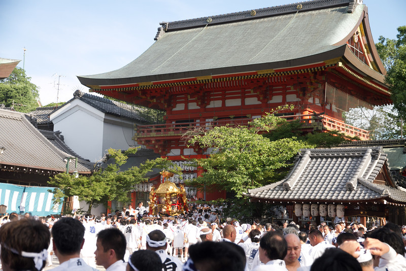 The neighborhood shrine is carried out from the temple and paraded around the local area