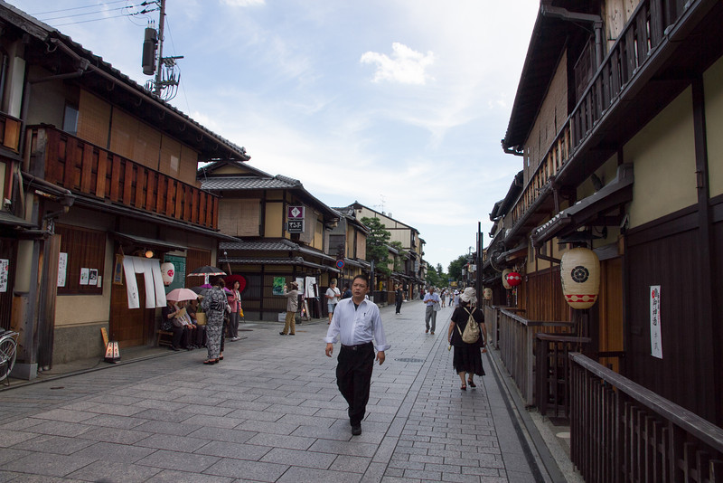 The neighborhood of Gion is preserved to look as it did in the past, and is one of the few remaining geisha districts