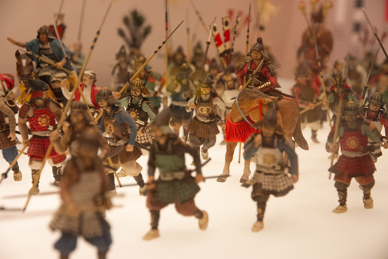 Diorama of a samurai battle.