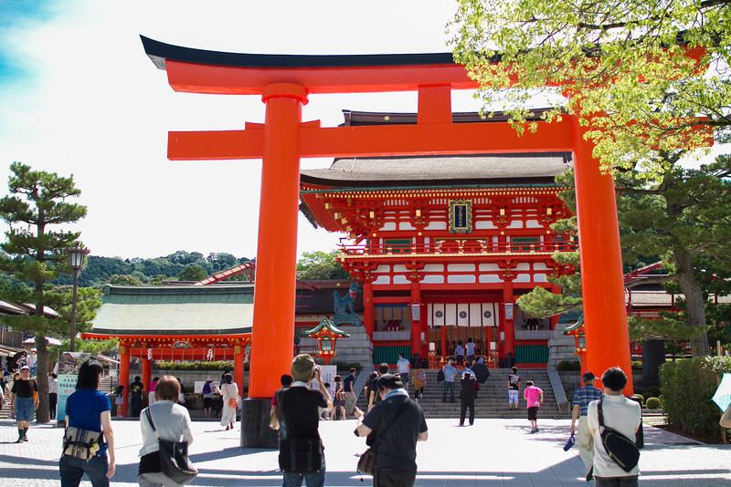 Entrance to Fushimi Inari shrine, famous for its trail with hundreds of torii gates