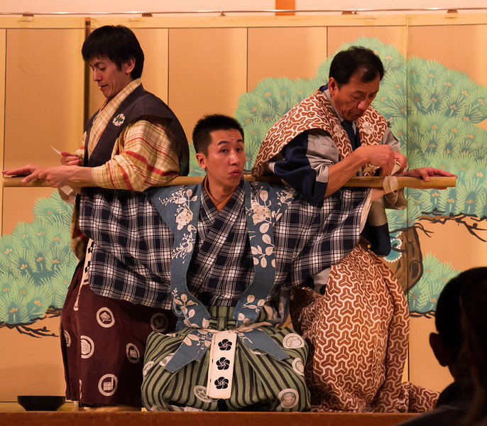 "Kyogen, a short comedy play.  This is ""Boshibari"".  A lord is going to town and ties up his servants so they can't steal his sake."