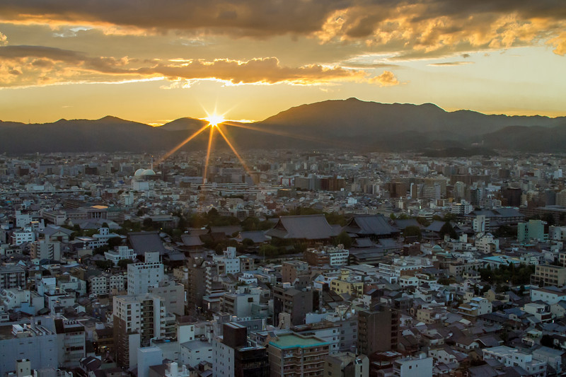 Sunset over Kyoto, from Kyoto Tower.