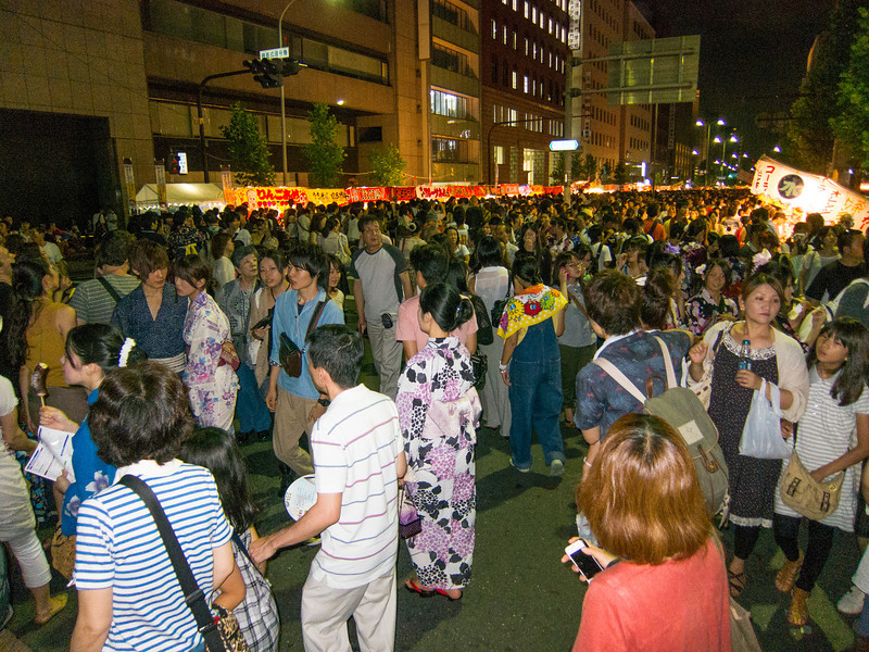 At night, the main streets flooded with people for the Gion Matsuri festival.