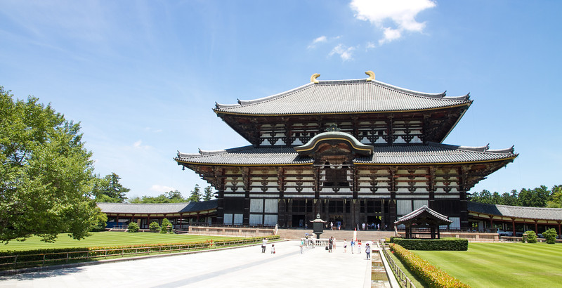 Todaiji temple, housing the largest buddha in Japan and one of the largest in the world.  The current building is 33% smaller than the original which was burnt to the ground in a fire.