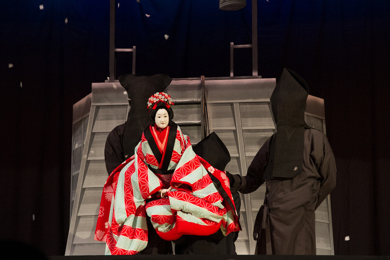 Bunraku, a puppet play manipulated by three pupeteers