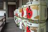 Barrels of sake as an offering at a shrine.  Osaka Castle