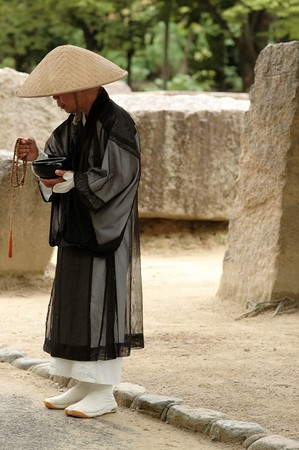A monk in the stone quary at Osaka castle